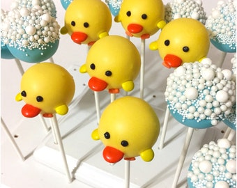 12 Spring Chick or Baby Duck Cake Pops for Easter baby