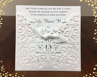 Graceful Ivory Shimmer Laser Cut Ribbon Bow Square Invitation Wedding Die Cut Laser Cut Traditional Wedding Invites Laser Cut