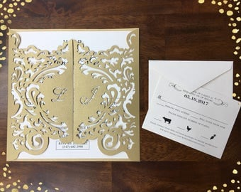 Laser cut invitation Etsy