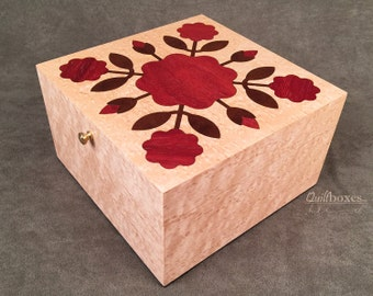 Rose Of Sharon Wood Jewelry / Keepsake Box by Quiltboxes