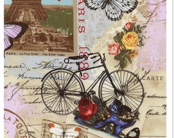 Paris Collage Postcards, Script, Bicycles, Butterflies and More Timeless Treasures Fabric 2299 FQ Free Post