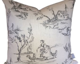 Cushion cover in French vintage design & Ticking Charcoal