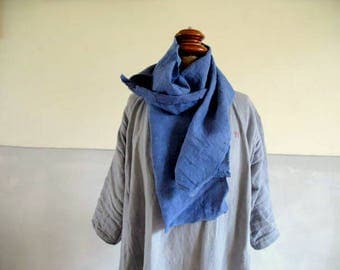 French antique chanvre, hemp scarf ,dyed washed indigo, seams and stitch detail (30) 166cm long x 23cm wide hand stitched. original darns