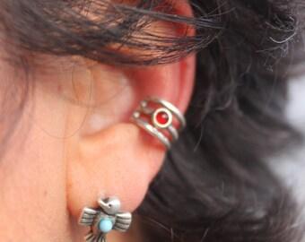 Carnelian Sterling Silver Ear Cuff, Three Row Banded Ear Cuff, No Piercing, Birthstone, Modern Tribal, Metal Ear Cuff, Birthday Gift