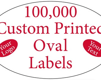 """100,000 Printed Stickers, Custom Oval 3/4"""" x 1-1/4"""" Business Labels, 1-Color, on Rolls"""