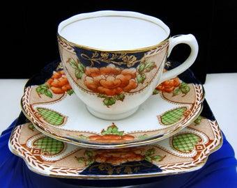 Bell China England Imari 3 Pc Cup Saucer Dessert Plate Set