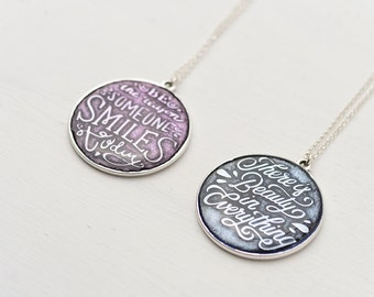 Inspirational Necklace  Circle Necklace Quote Jewelry Teen Gift Layering necklace Birthday gift Grandmother Mom Gift