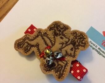 Reindeer felty hair clip-Christmas hair bow-Christmas hair clip-reindeer hair bow-reindeer hair clip-reindeer felty-Christmas reindeer