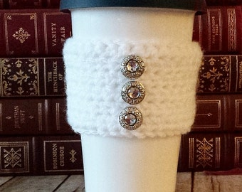 Handmade Crochet White Coffee Cozy with Silver Rhinestone Buttons, Tea Cozy, Cup Cozy, Cup Cozies