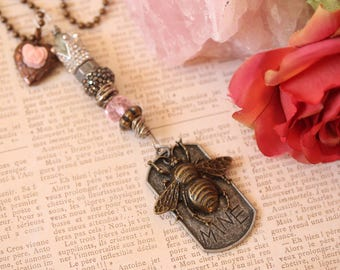 Bee Mine Assemblage Necklace >> Bee necklace Valentines Day pink roses heart locket found objects mixed metals industrial jewelry boho gypsy