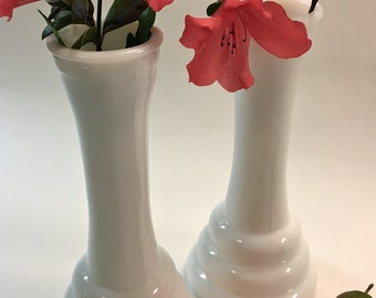 Vintage Mid Century Modern Art Moderne Streamline Modern Style White Milk Glass Bud Vases by Libbey Glass SET OF TWO
