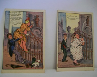 A Pair of humorous 1940s Post Cards from Belgium