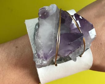 WHITE leather and AMETHYST crystal cuff