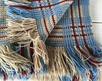 Vintage 1970s hand crocheted afghan blanket- blue maroon tan Retro Sofa Throw / Blanket, Mid Century handmade lap blanket crocheted throw