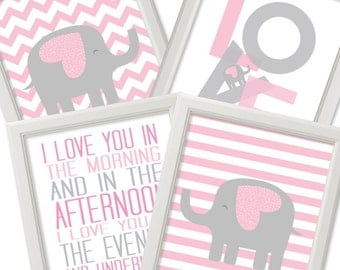 I Love You In The Morning print, Love Elephants Nursery, Set of 4 Pink and Grey Nursery sign Printable Nursery Wall Art poster DIGITAL FILES