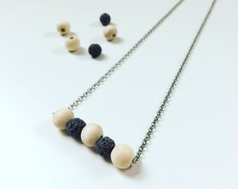 3 Brown Lava & Wood Necklace, Essential Oil Diffuser, Cross Bar Necklace, Clay Lava Bead, Minimalist, Modern Aromatherapy Jewelry