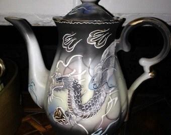 Gorgeous Vintage Tea Set - Fine China Dragon Tea Set -  Made in Japan  17 pieces  Tea Service in Mint Condition -  Dragon Tea Set