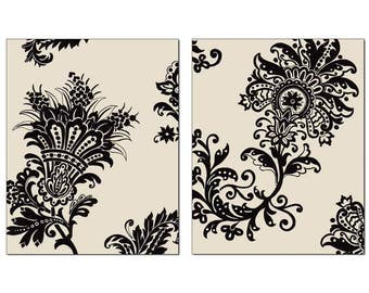 French Country Stylized Floral Wall Art, Black Motif Cream Background, 11x14 Matted Print Set of 2, Series 2, Matching Prints Available