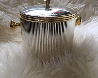 Vintage Silver and Gold Ice Bucket