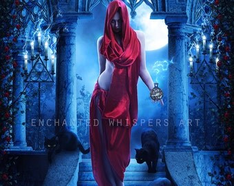 """fantasy woman with black cats art print """"Potion"""" by Enchanted Whispers"""