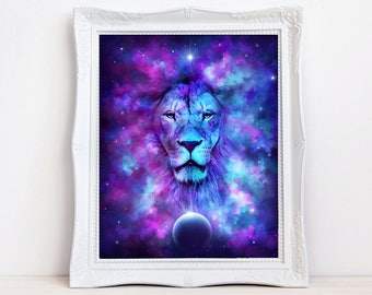 Leo Lion print, Lion art print, fantasy lion, Zodiac print, Astrology print, Birthday gift, purple and blue, Zodiac decor, Star Sign, cat