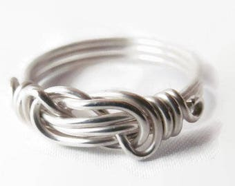 Sterling Silver Love Knot Ring, Infinity Knot Ring, Infinity Love Ring, Sizes 4 - 14
