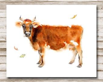 Cow Farmhouse Printable 5x7 8x10 11x14 Farmhouse Print Home Decor Watercolor Cow Printable Art Country Wall Art Jersey Cow Print