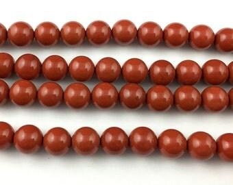A 10mm Natural Red Jasper Beads, Jasper Gemstone Beads, Round Semi Precious Stone Beads For Jewelry Making 15''