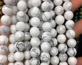 10mm Howlite Beads, 10mm Gemstone Beads, Natural White Howlite Faceted Beads, Cut Beads, Round Beads 15''