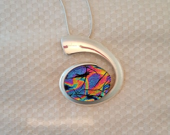 Dichroic Glass Pendant in Contemporary Silver Settiing