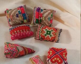 Little pillows. Miniature Pillows.  Fairy pillow. Barbie pillows. Dollhouse accessories. Tiny pink pillows. Doll pillows. Doll bedding