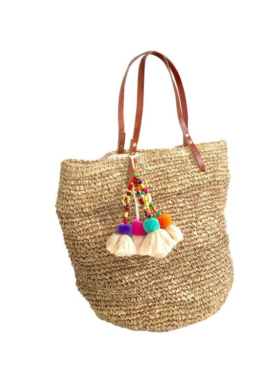 Pom Pom Beach Bag Straw Tote Panier Plage Sisal Tote Bag