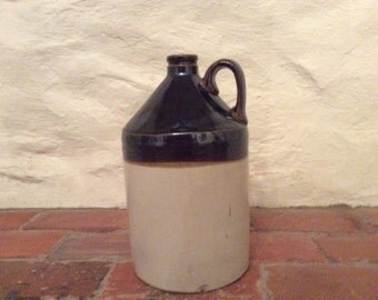 1 Gallon Ceramic Jug-Two Tone Salt Glaze and Brown.