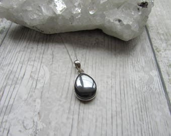 Hematite Pendant 925 Sterling Silver Pendant Necklace Natural Gemstone Jewellery