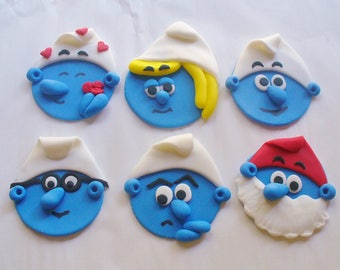 12 SMURFS Theme Edible Fondant Cupcake Toppers
