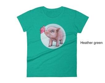 Mini pig women's t-shirt,  pig t-shirt,  animal t-shirt, pet t-shirt, feminine t-shirt, pig gift, women's t-shirt, mini pig tee, teacup tee