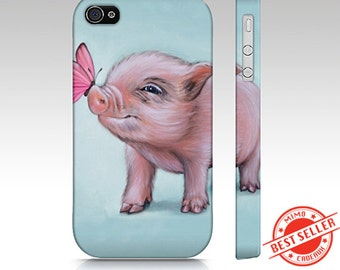 Pig phone case, mini pig case, pig mobile case, snap case for iPhone and Samsung Galaxy, animal device,  pig slim case, mini pig mobile case