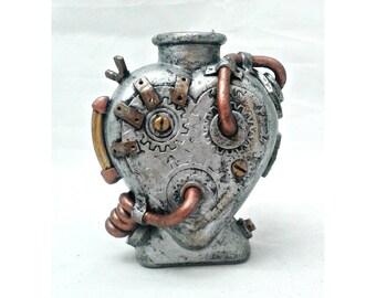 Steampunk Heart Vase, silver heart, industrial bottle