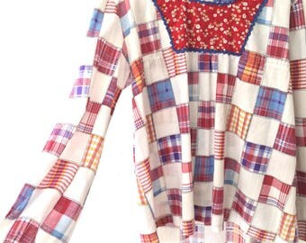 Vintage 70s Maternity Plus Size Oversized Patchwork Hippie Tunic Top