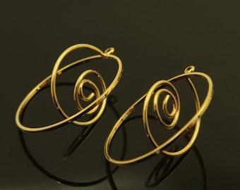 Markdown, 50% OFF,  Snail motif charm, T34-G2, 2 pcs, 30x20mm, 16K gold plated brass, Wire charm, Wire pendant, Snail charm, Snail pendant