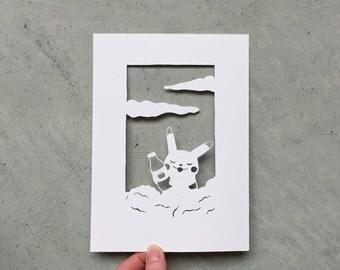 Pikachu loves ketchup - hand cut paper cut fan art - pokemon fan art - original pikachu scherenschnitte