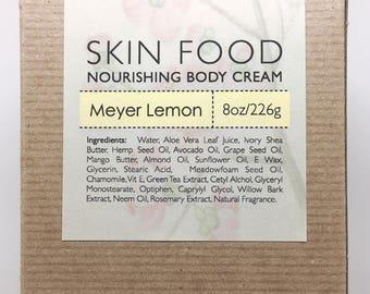 Skin Food Nourishing Body Cream, MEYER LEMON, Natural Skin Care, Paraben Free, 8oz