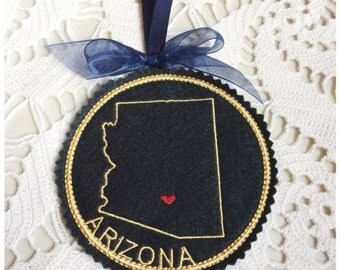 I Heart Arizona Coaster and Ornament Machine Embroidery Design Instant Download I Love Arizona with Positionable Heart