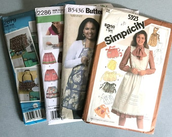 Lot of 4 Brand New Patterns for Aprons & Pull On Skirt