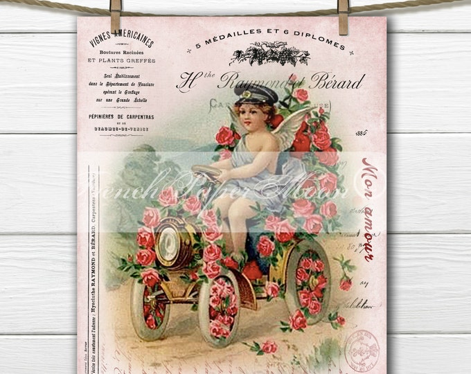 Vintage Shabby Chic Valentine, Victorian Angel, Car, Auto, Roses, French graphics, French Pillow Digital Graphic Transfer