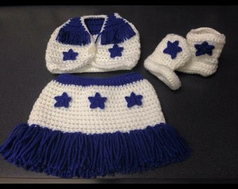 Crochet Cheerleader-Dallas Cowboys Inspired Outfit