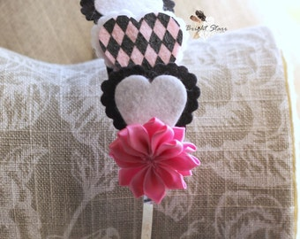 Valentine's day headband - hart headband - felt headband - pink headband - headbands for adults - girls pink headband - vday headband