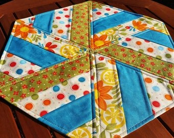 Table Topper: quilted hexagon, orange and teal, reversible modern aqua and red topper, large candle mat, cream and green floral table mat