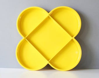 Large Dansk Divided Tray Gunnar Cyren Yellow Plastic Mid Century Modern
