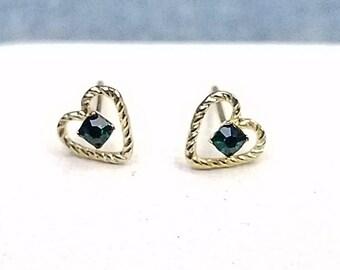 14K Emerald Heart Earrings Delicate Dainty For Pierced Ears May Birthstone
